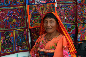 panama kuna lady in handcrafted dress